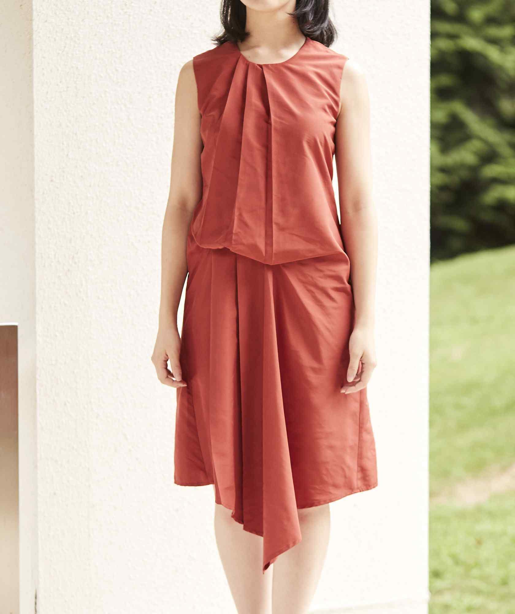 クルーネックデザイントップOGAラインミディアムドレス-オレンジ-S
