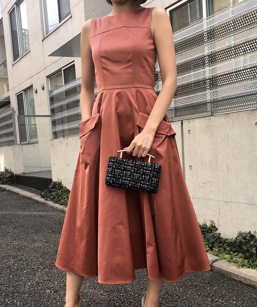 OGAラインフレアレディミディアムドレス-オレンジ-S