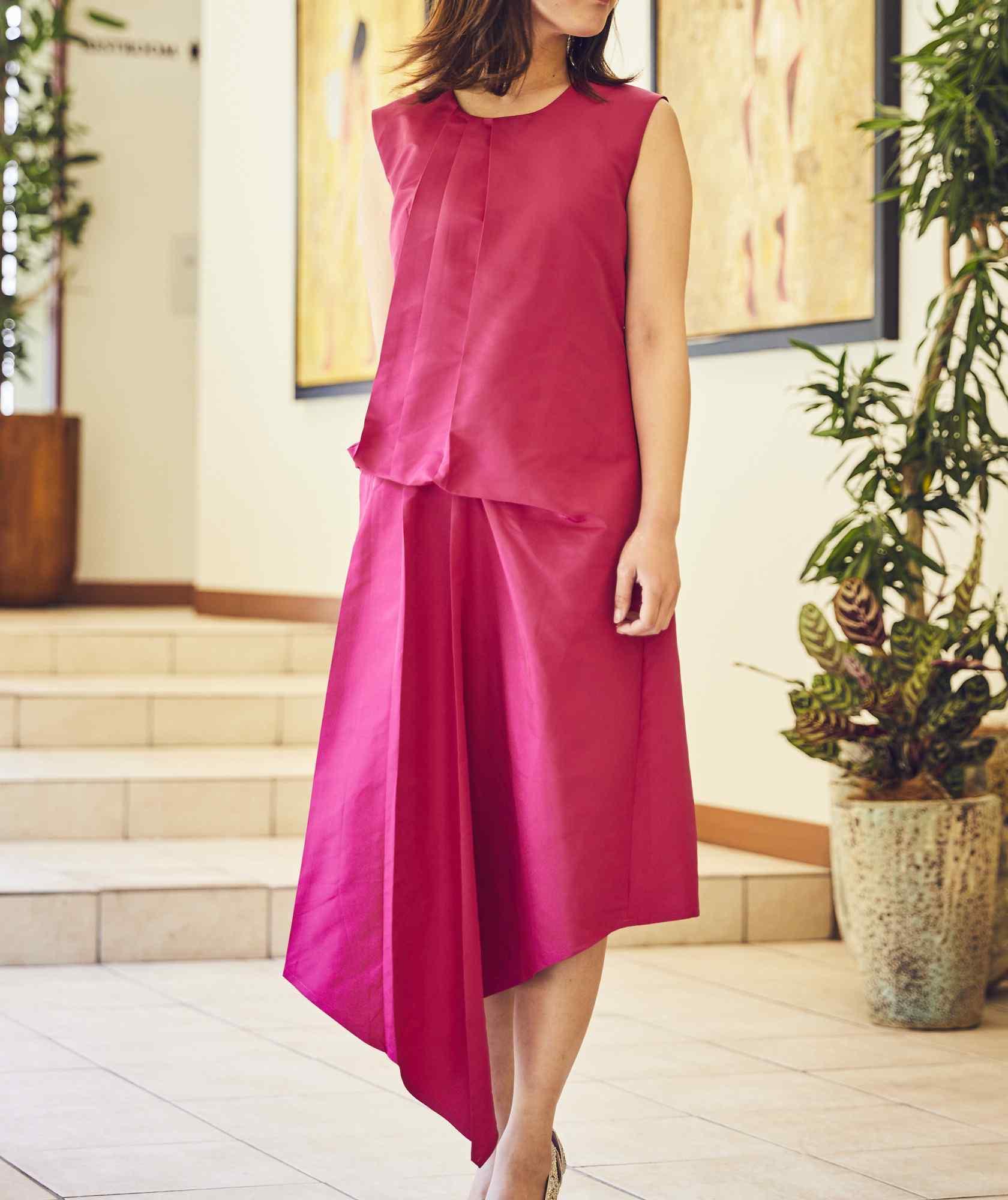 クルーネックデザイントップOGAラインミディアムドレス-ピンク-M