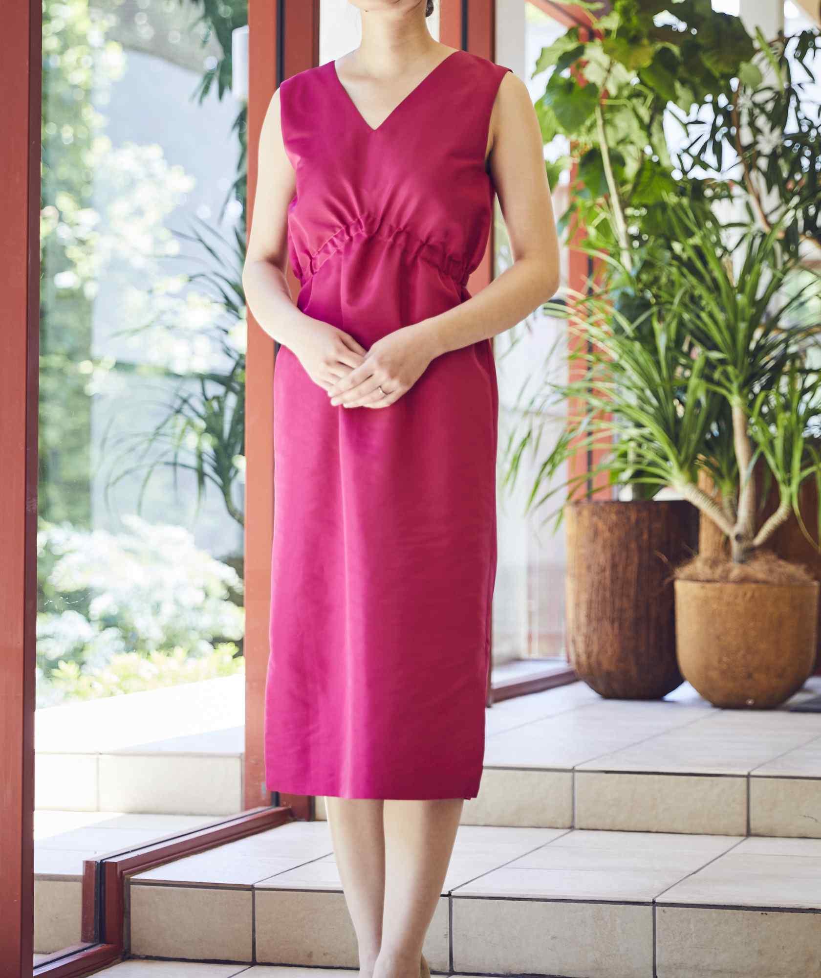 VネックシャーリングOGタイトミディアムドレス-ピンク-S