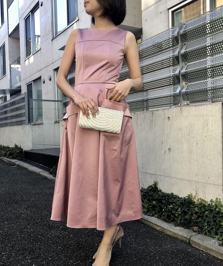 OGAラインフレアレディミディアムドレス-ピンク-S