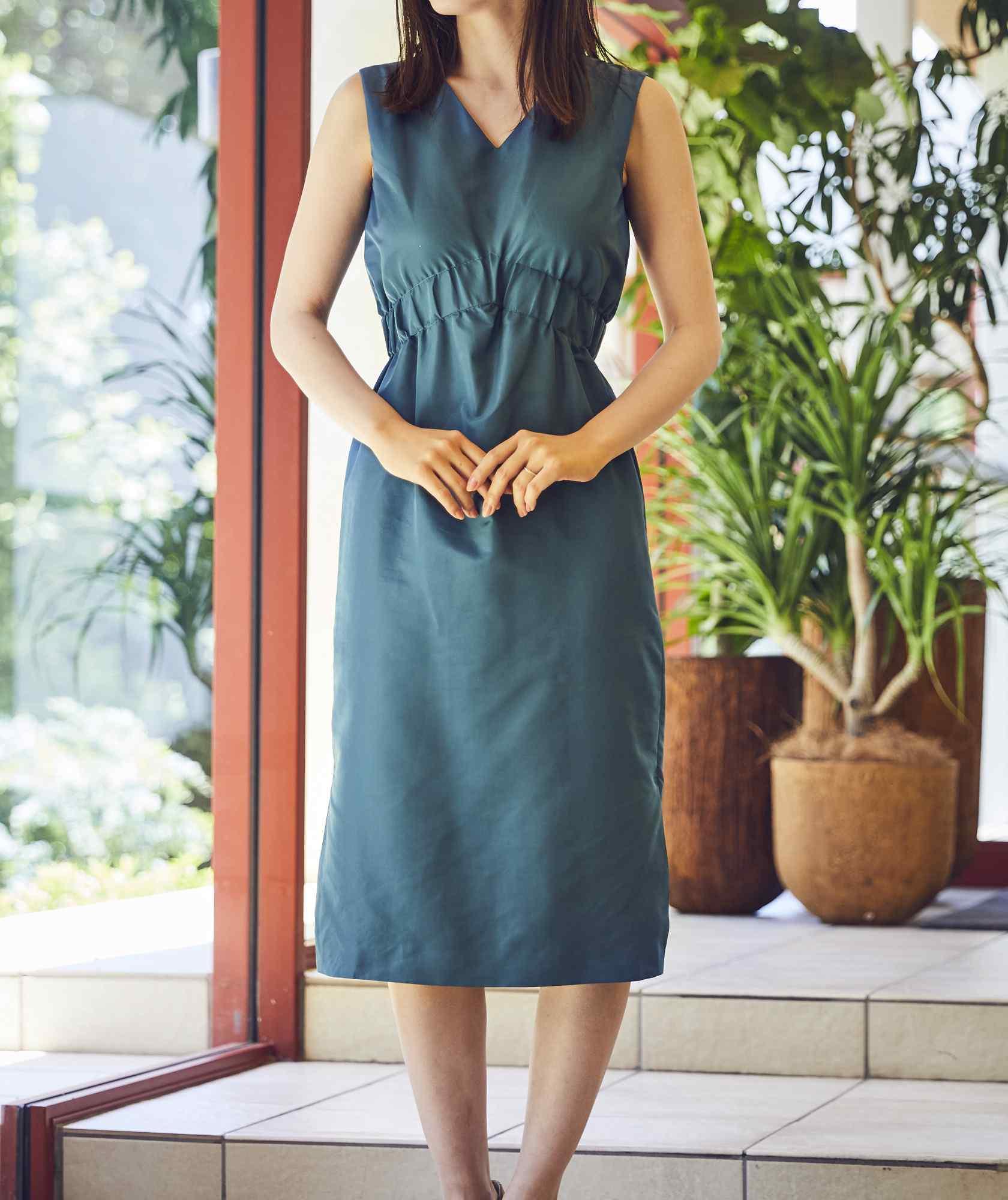 VネックシャーリングOGタイトミディアムドレス-グリーン-S