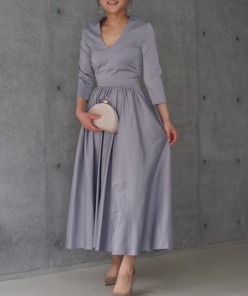 OGレディライクAラインフレアミディアムドレス-グレー-S