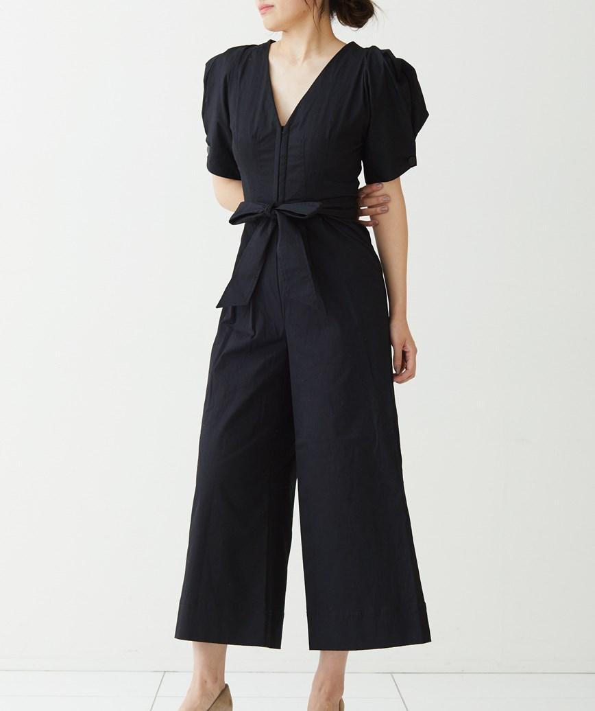 コットンワイドパンツドレス-ブラック-M