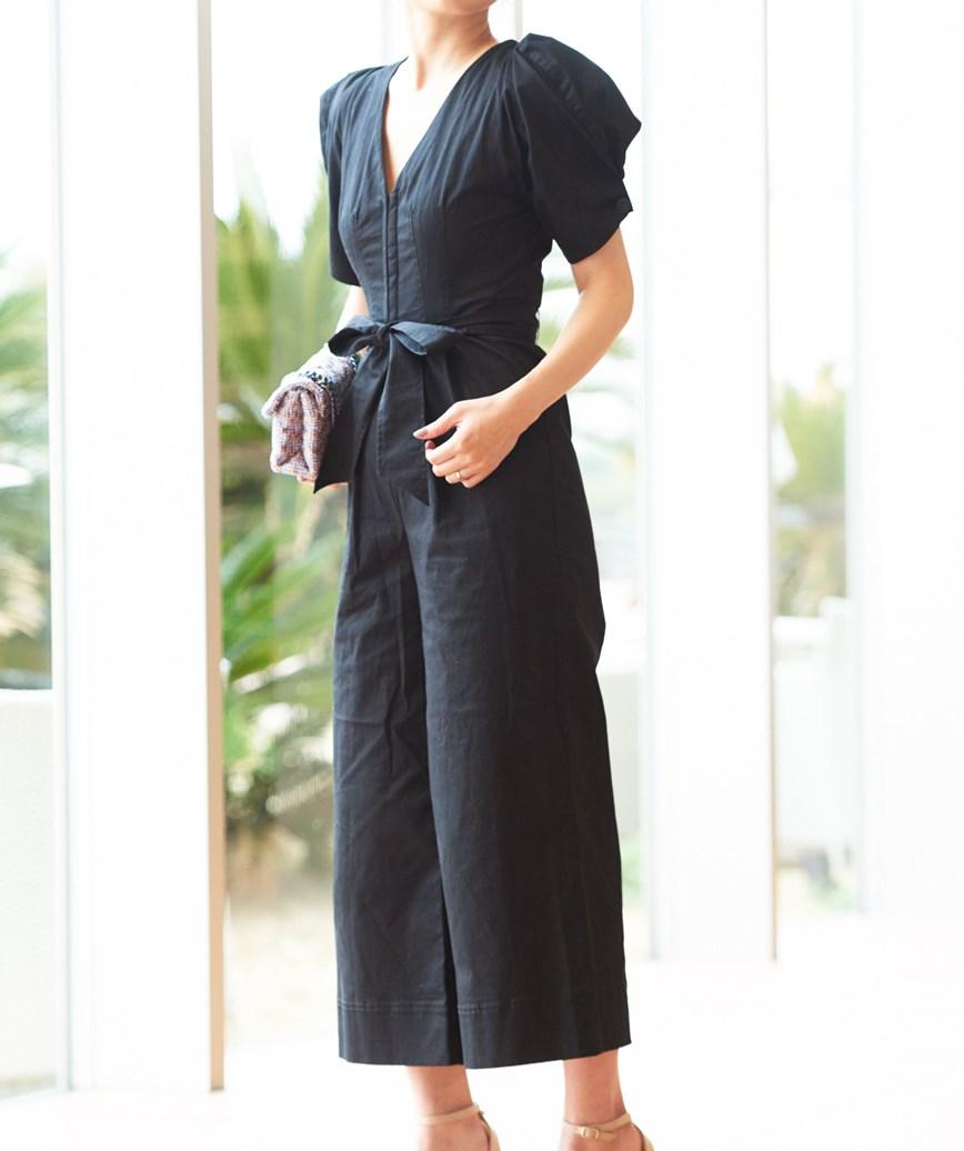 コットンワイドパンツドレス-ブラック-S
