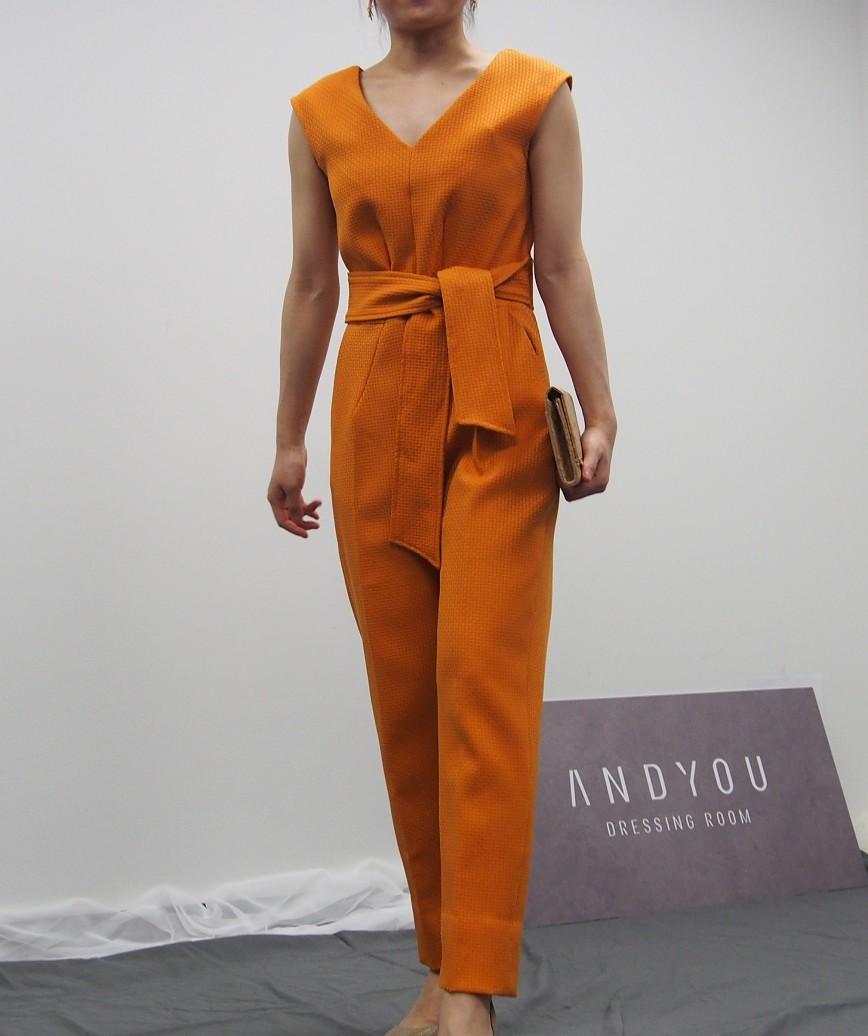 ウエストリボンテーパードVネックパンツドレス-オレンジ-S