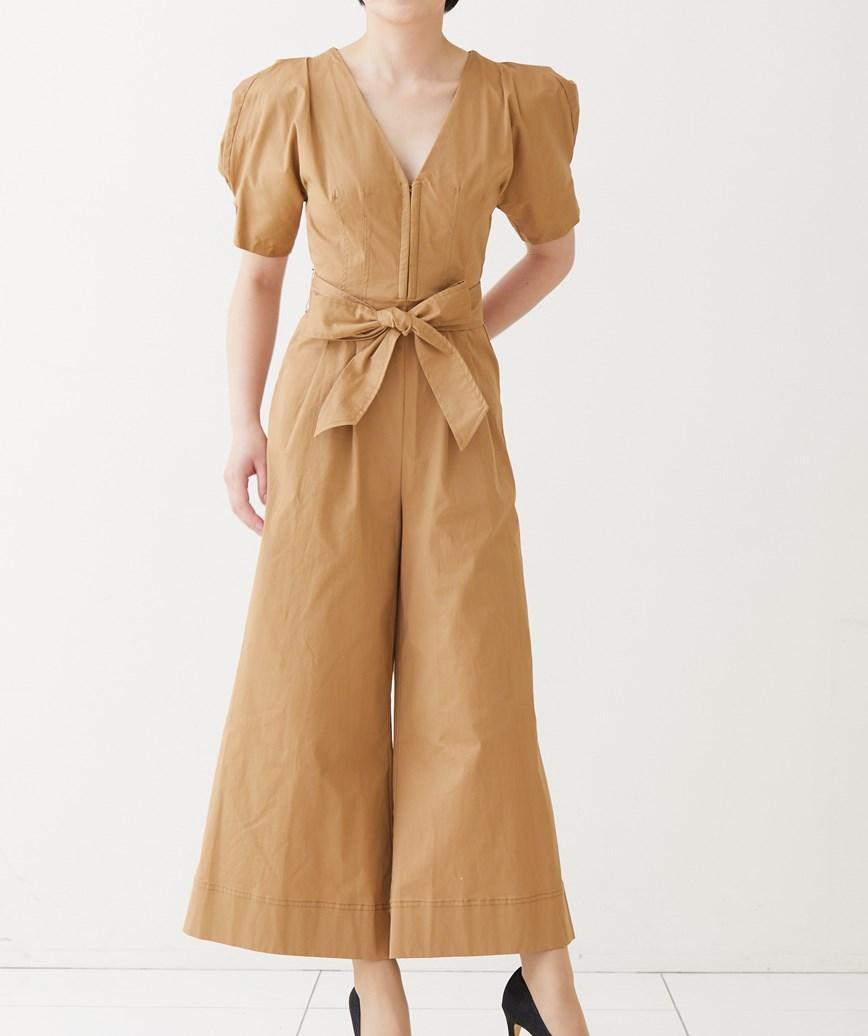 コットンワイドパンツドレス-ベージュ-S