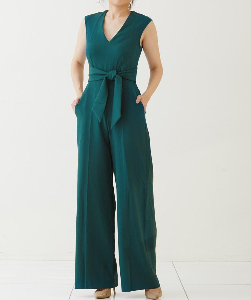 スリーブレスワイドパンツドレス-グリーン-M