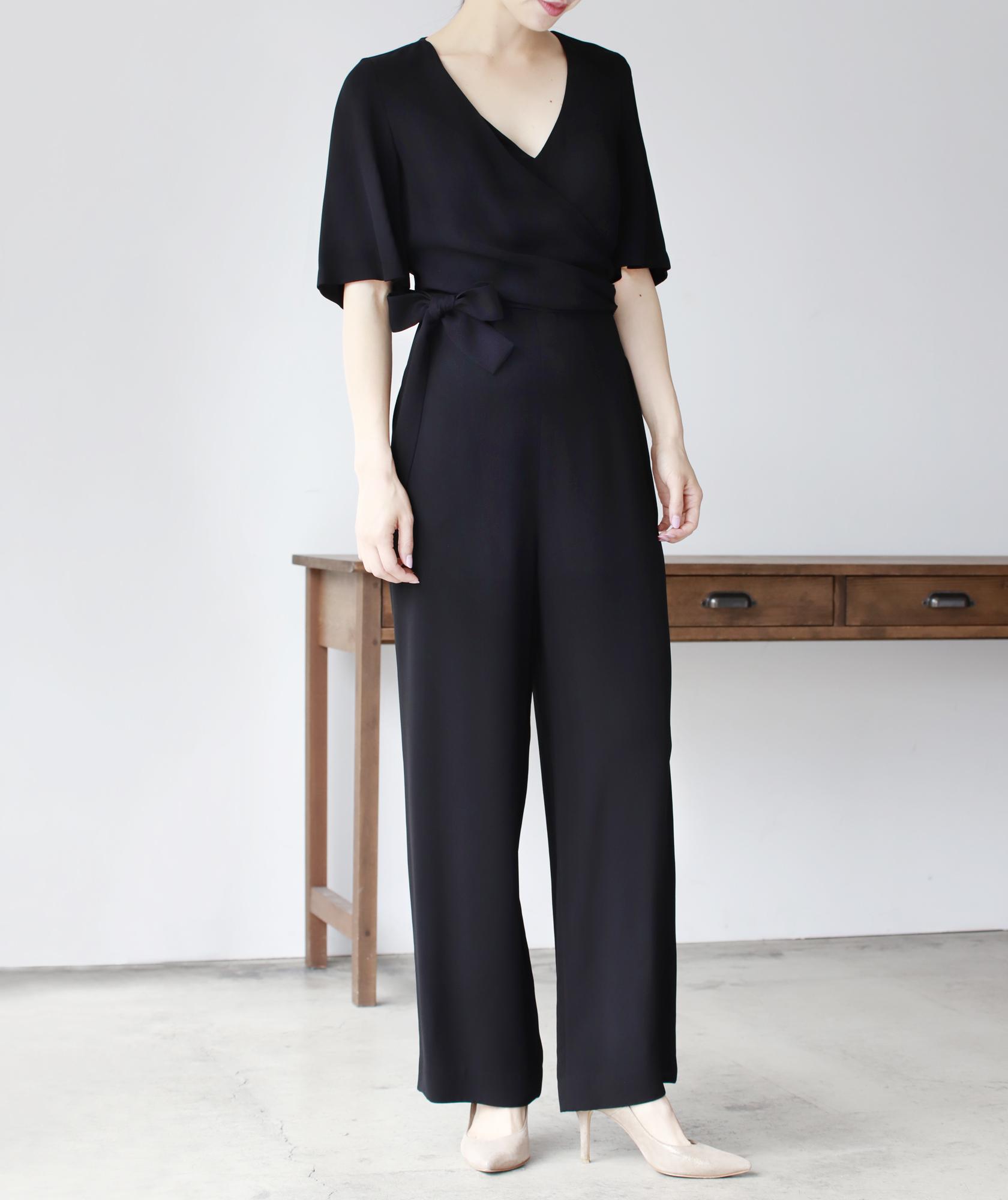 カシュクールサイドリボンVネックパンツドレス-ブラック-XS