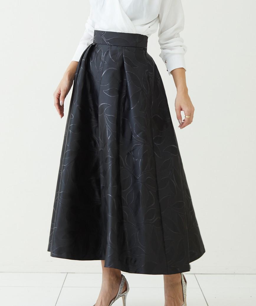 ジャガードフレアスカート-ブラック-S-M