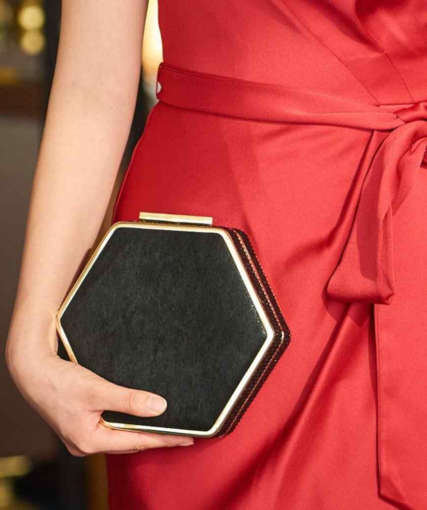Hexagon Black Clutch bag