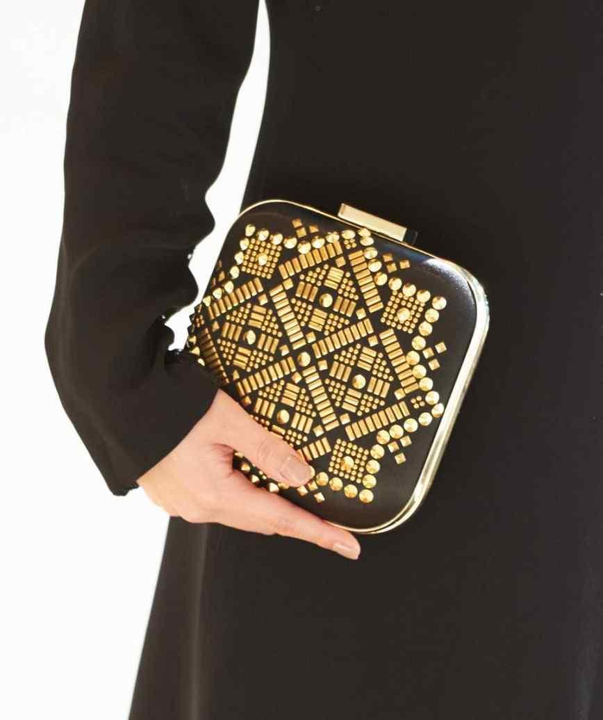 Black Gold Square Clutch bag