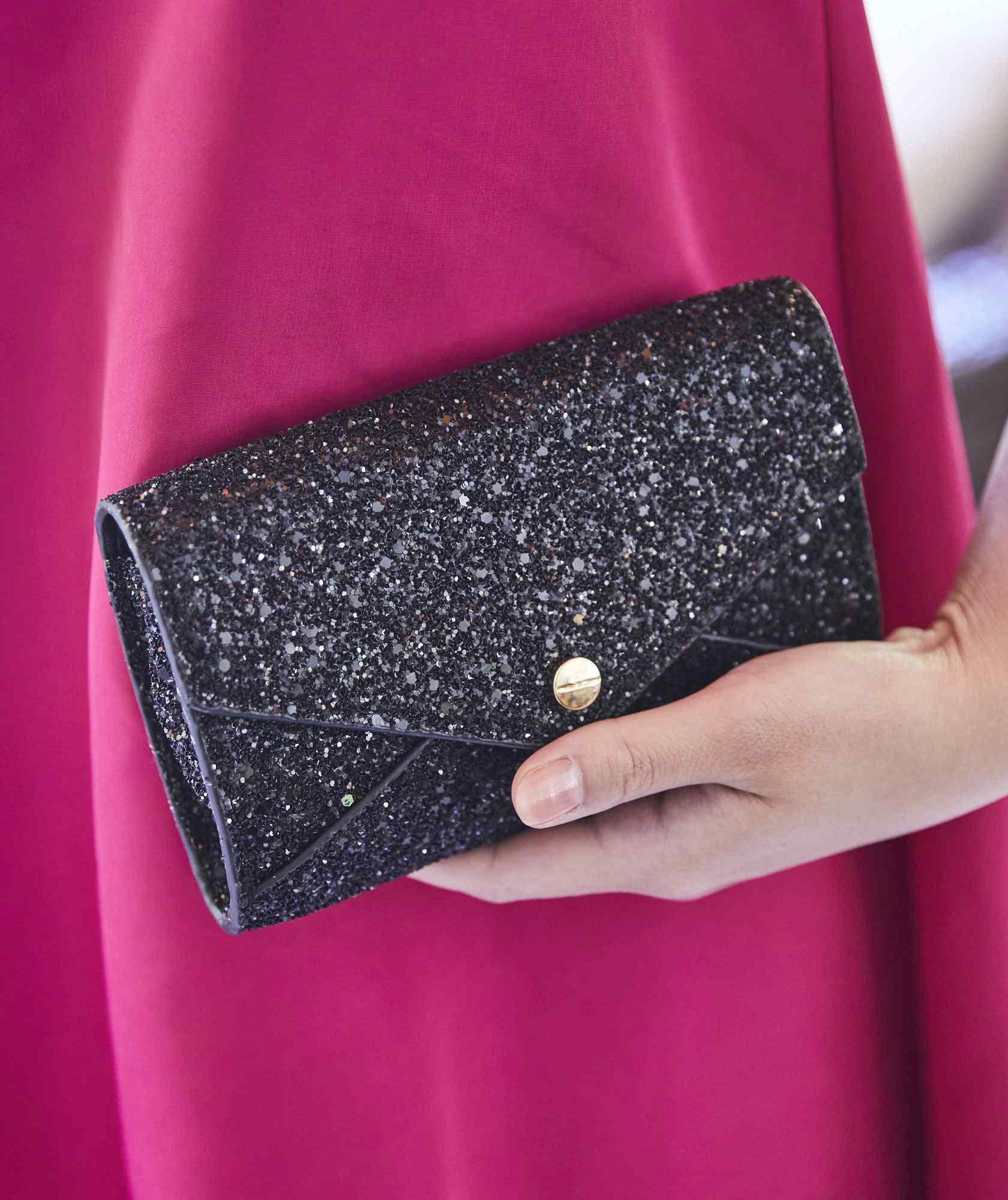 Black mini Lame Cluth bag