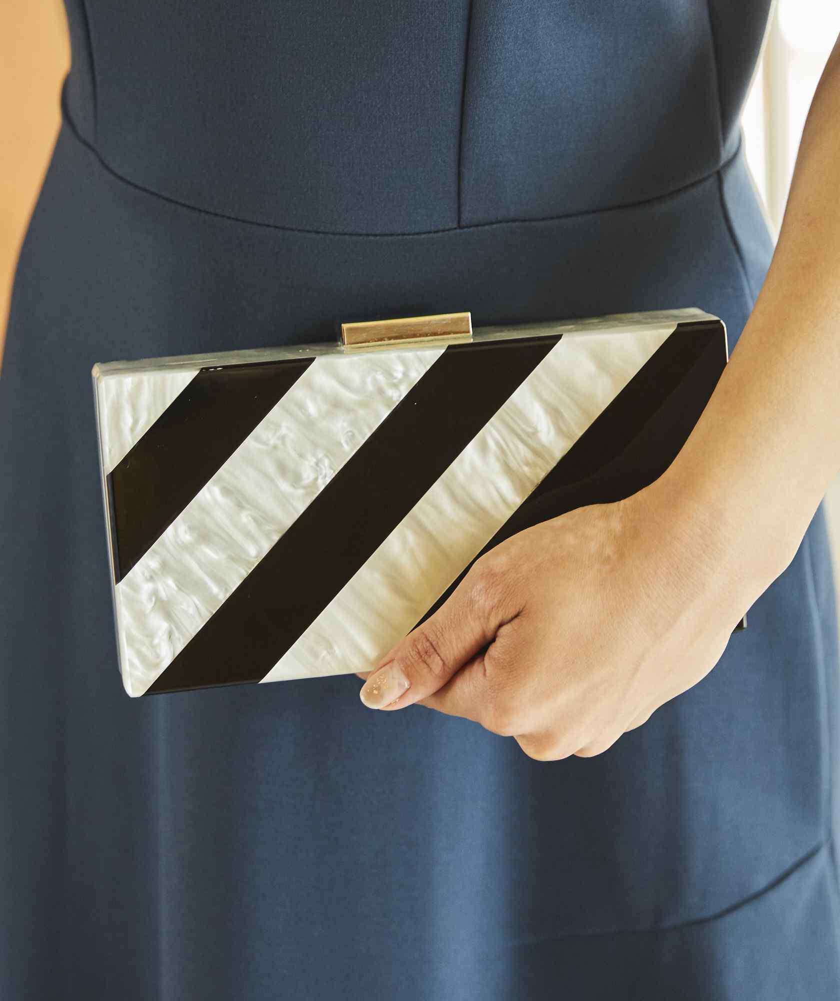 Diagonal Stripe Box Clutch bag