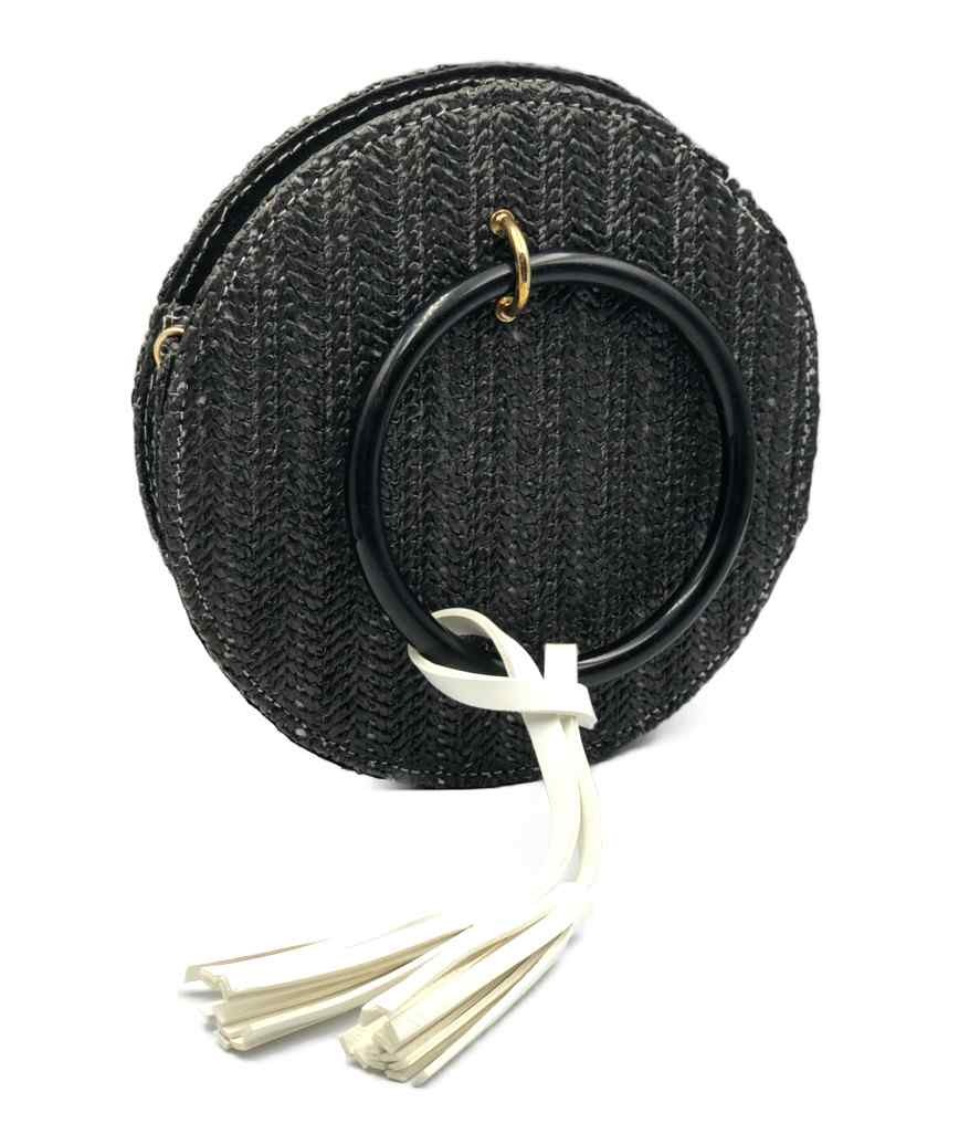 Round Straw Crossbody bag - Black
