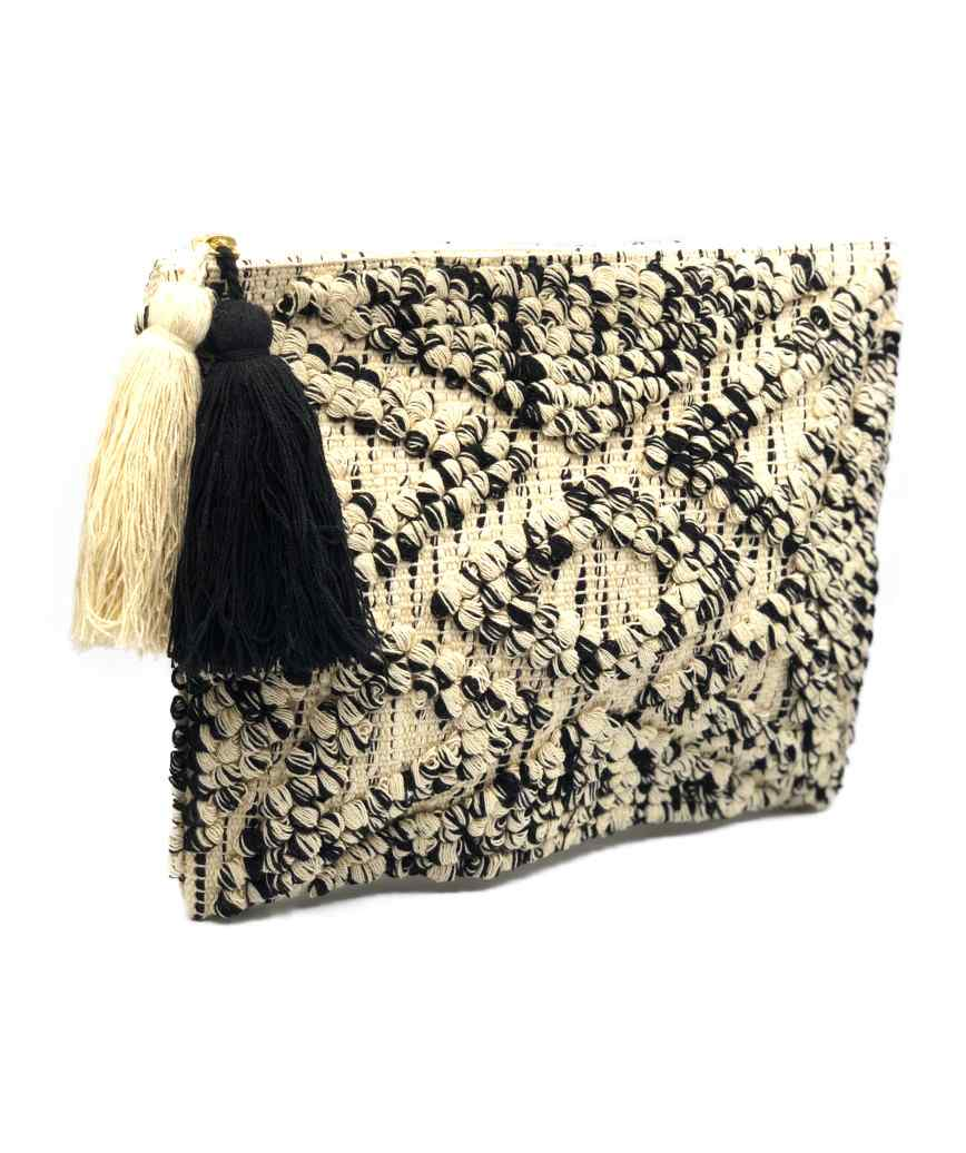 Fringe Cloth weave Cluth bag - Black