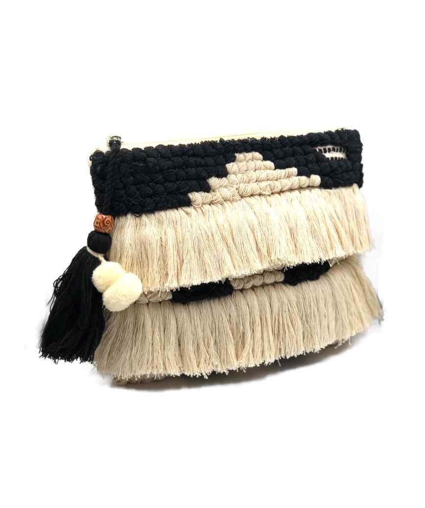 Fringed Cloth clutch bag
