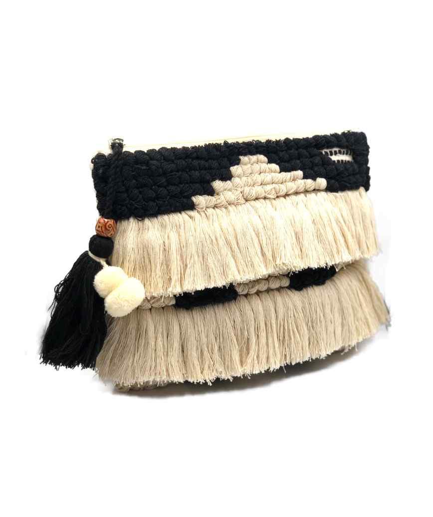 Fringed Cloth clutch bag
