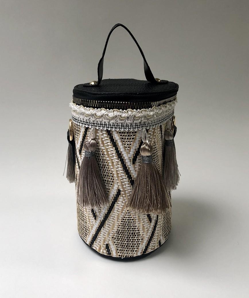 Fringe Column bag-Black