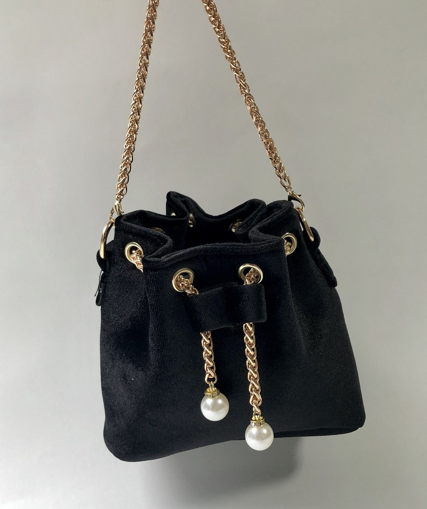 Velor Purse bag-Black