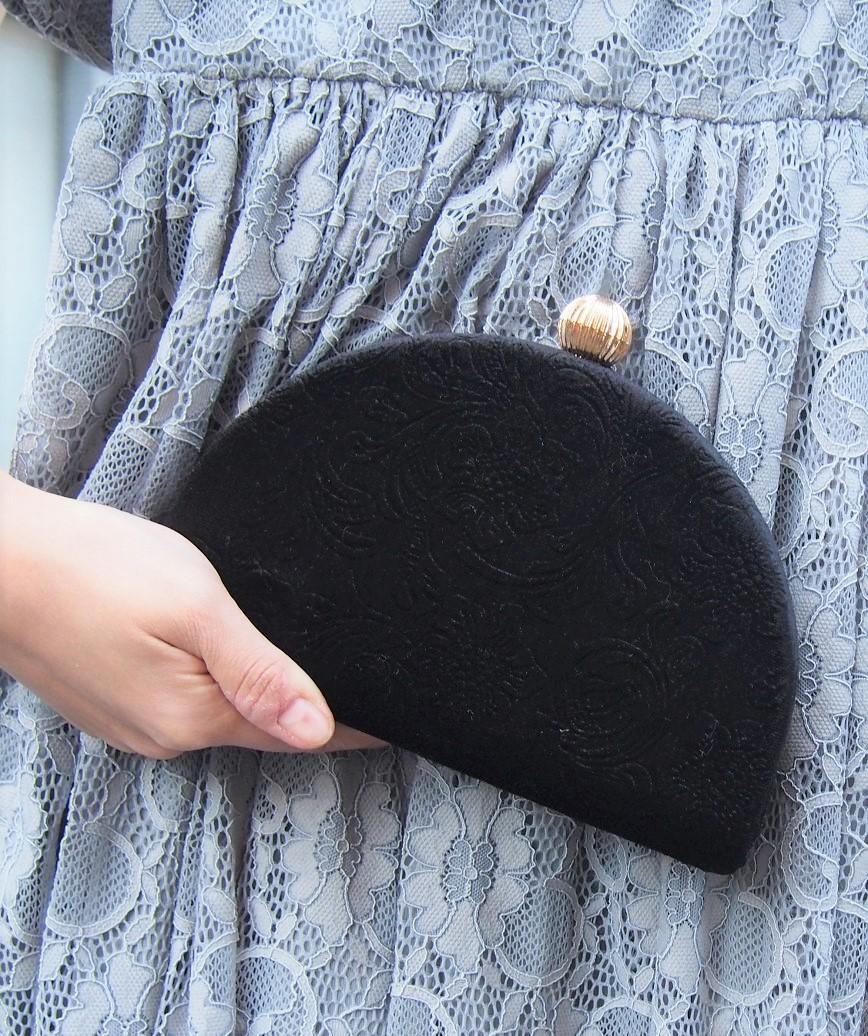 Velor Semicircle Cluth bag-Black
