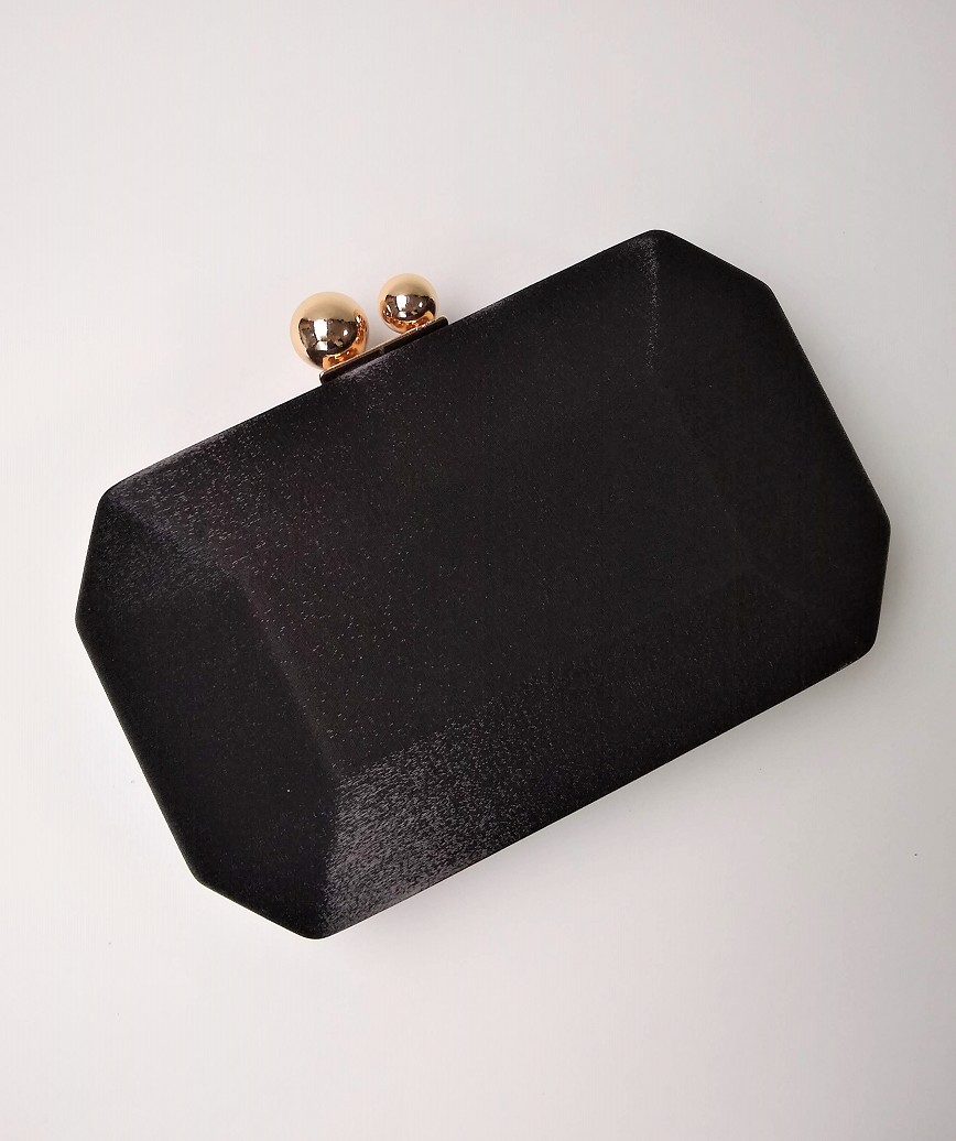 Simple Satin Cluth bag-Black