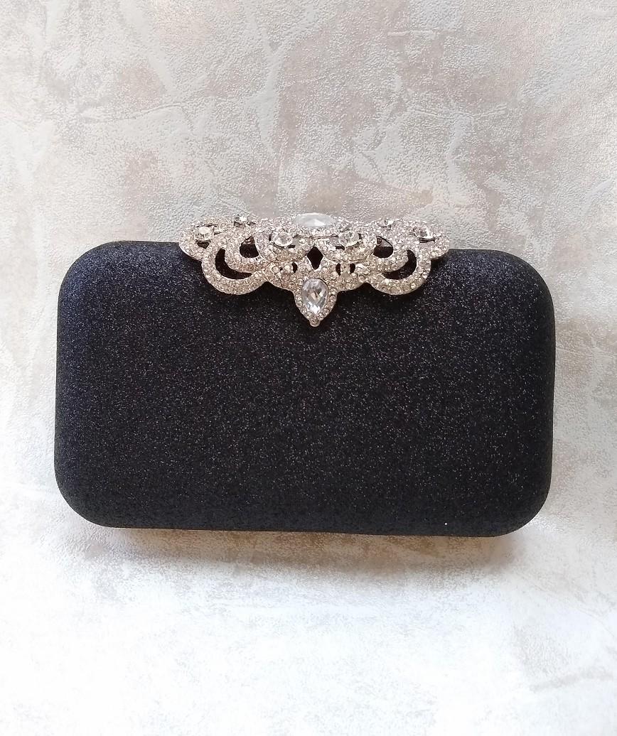 clasp motif lame cluth bag - black
