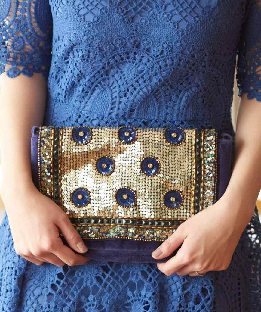 Sequins Navy Clutch bag