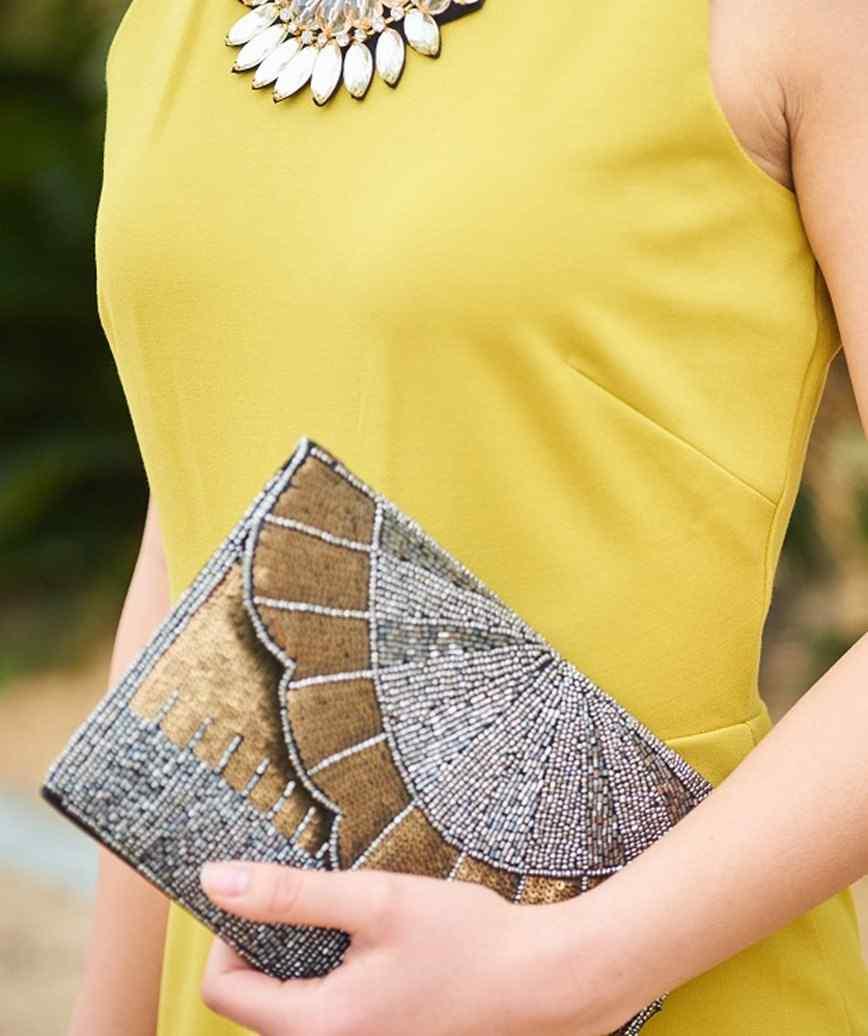 Grey Gold Clutch bag