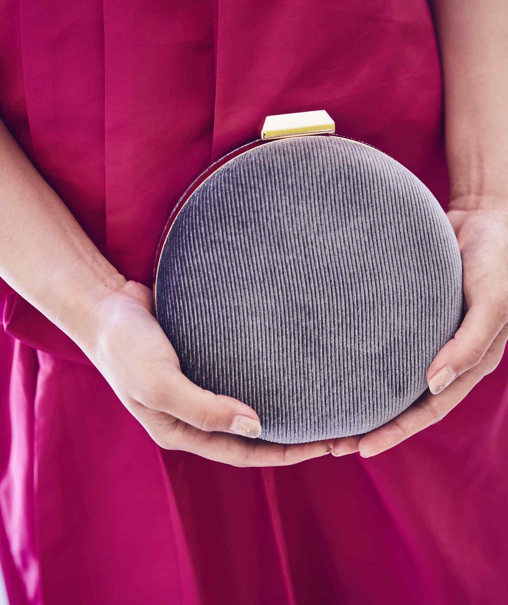 Blue Grey Velvet Circle Clutch bag