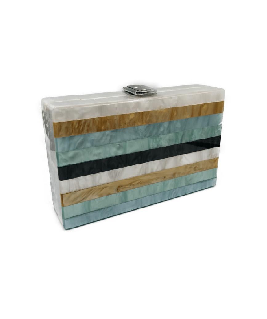 Blue Stripe Box Clutch bag