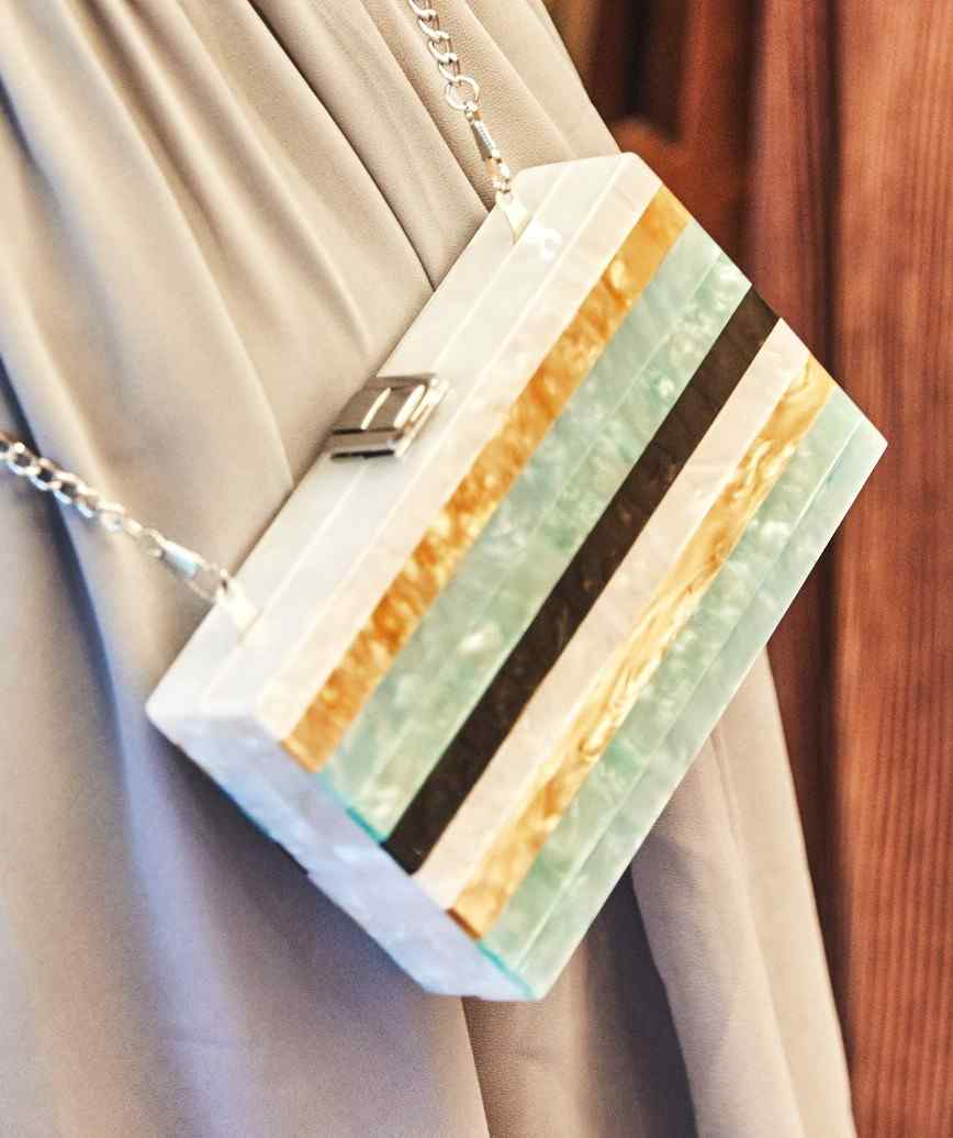 Blue Stripe Box Clutch bag