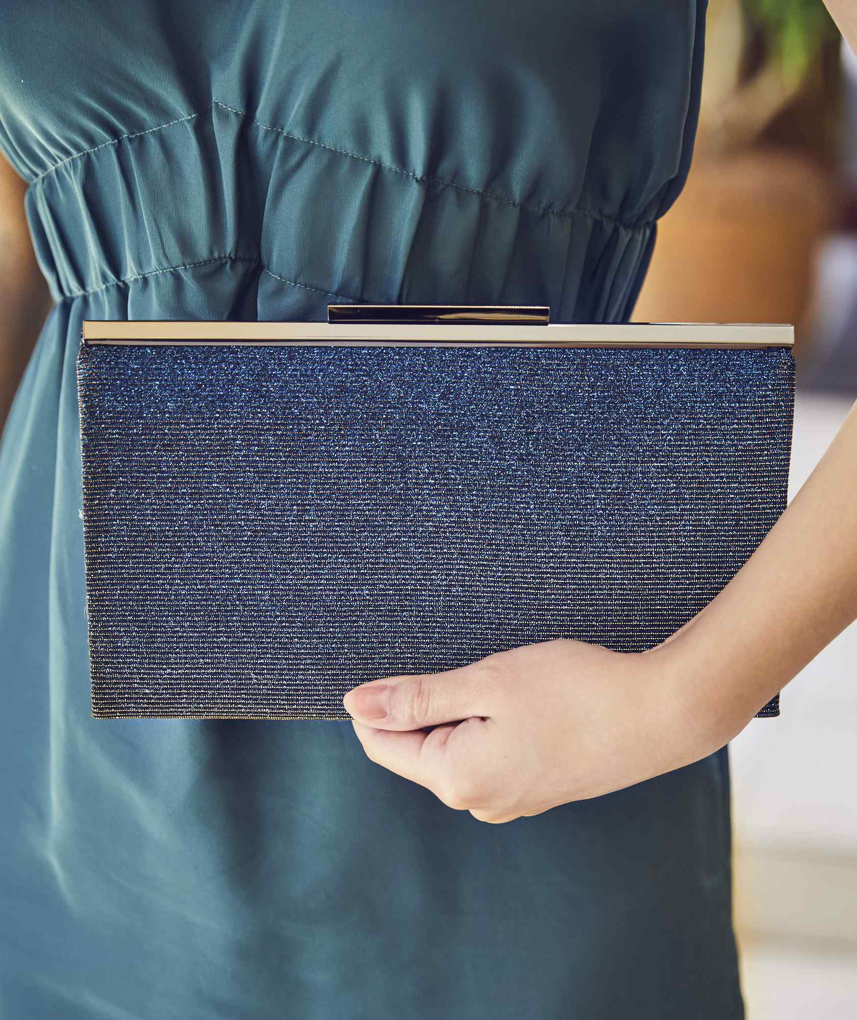 Gloss Blue Clutch bag