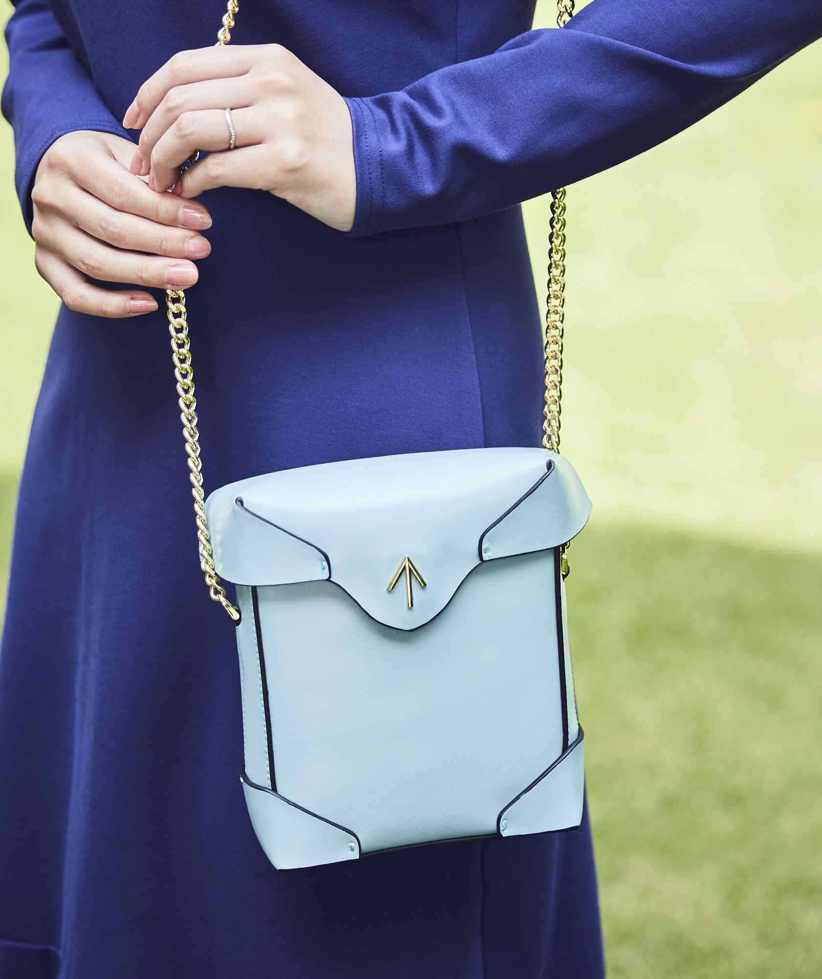 Blue Leather Box Clutch bag