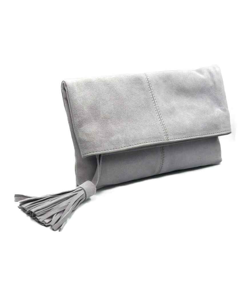 Suede fold Clutch bag - Lavender