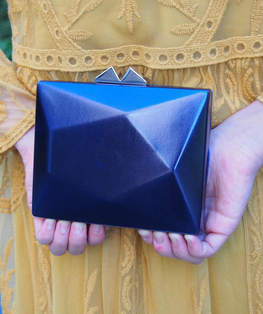 Geometric Faux Leather Clutch bag-Blue