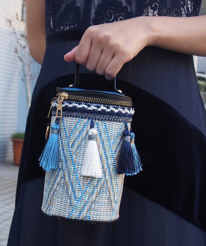 Fringe Column bag-Blue