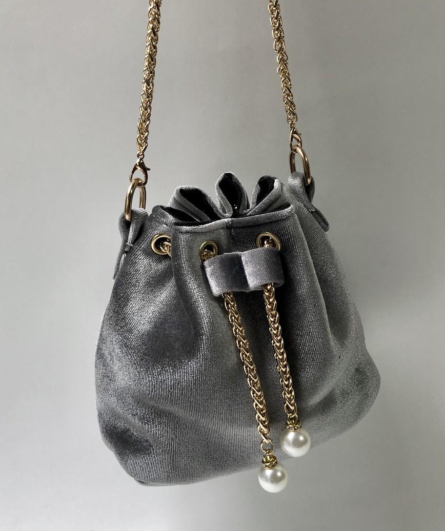 Velor Purse bag-Gray