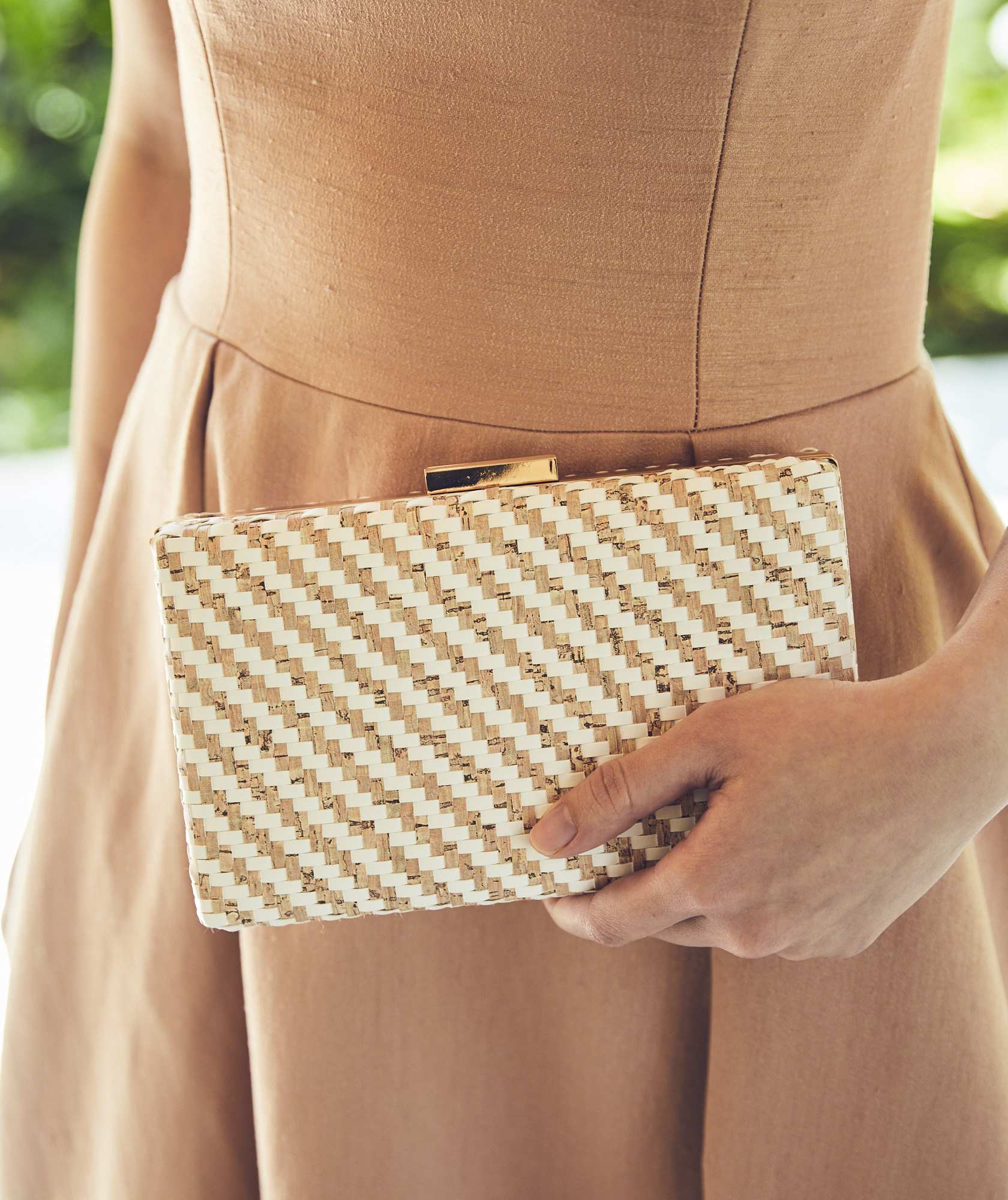Cork Diagonal Stipe Clutch bag