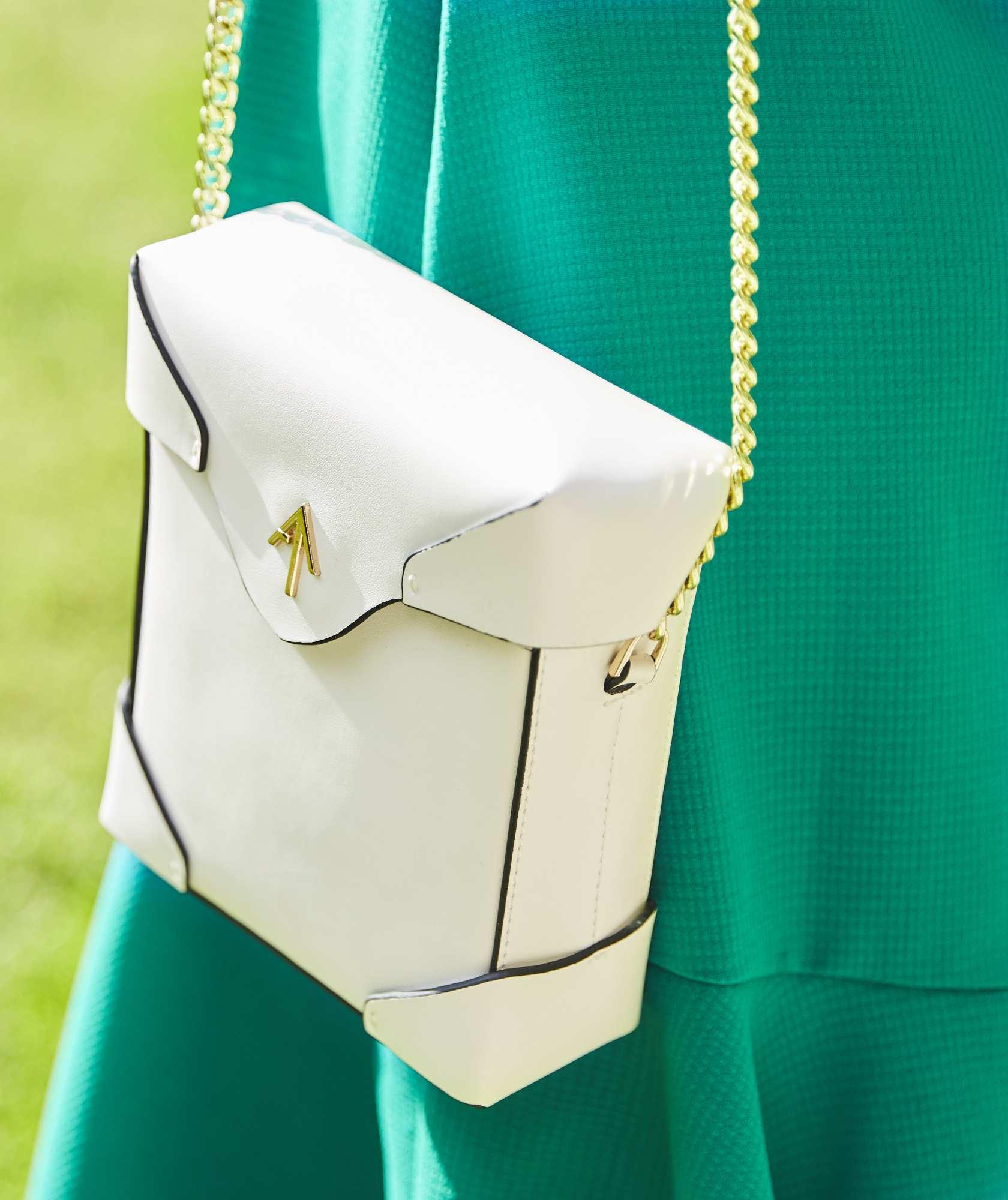 White Leather Box bag