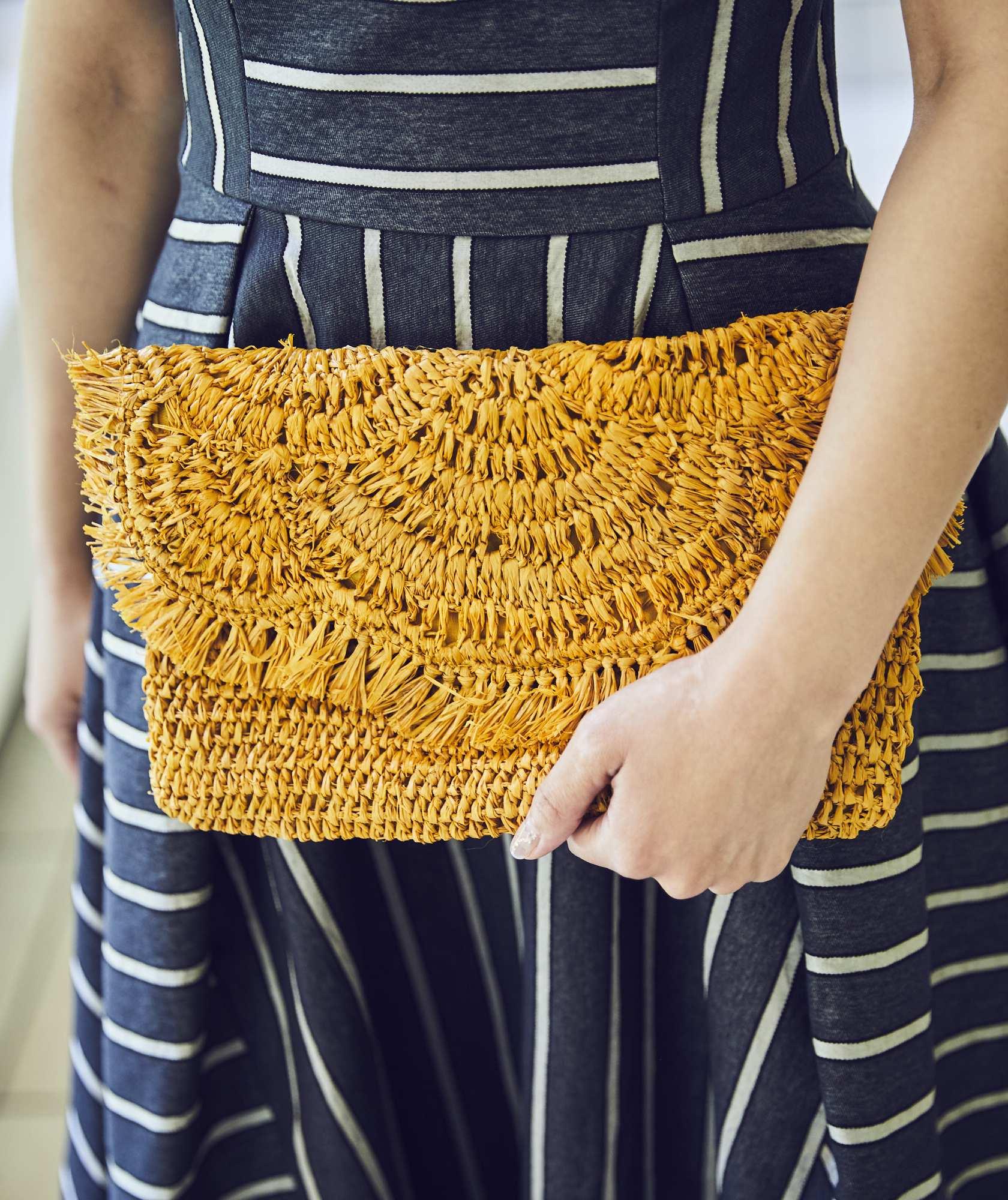 Yellow Straw Clutch bag