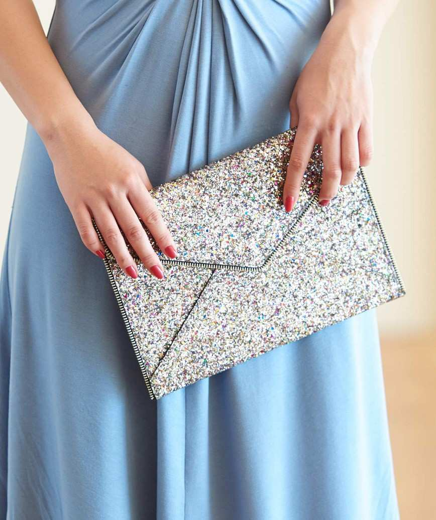 Pink Lame Later Clutch bag