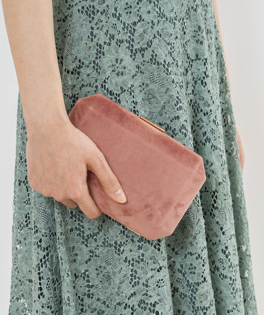 Pink Suede Clutch bag