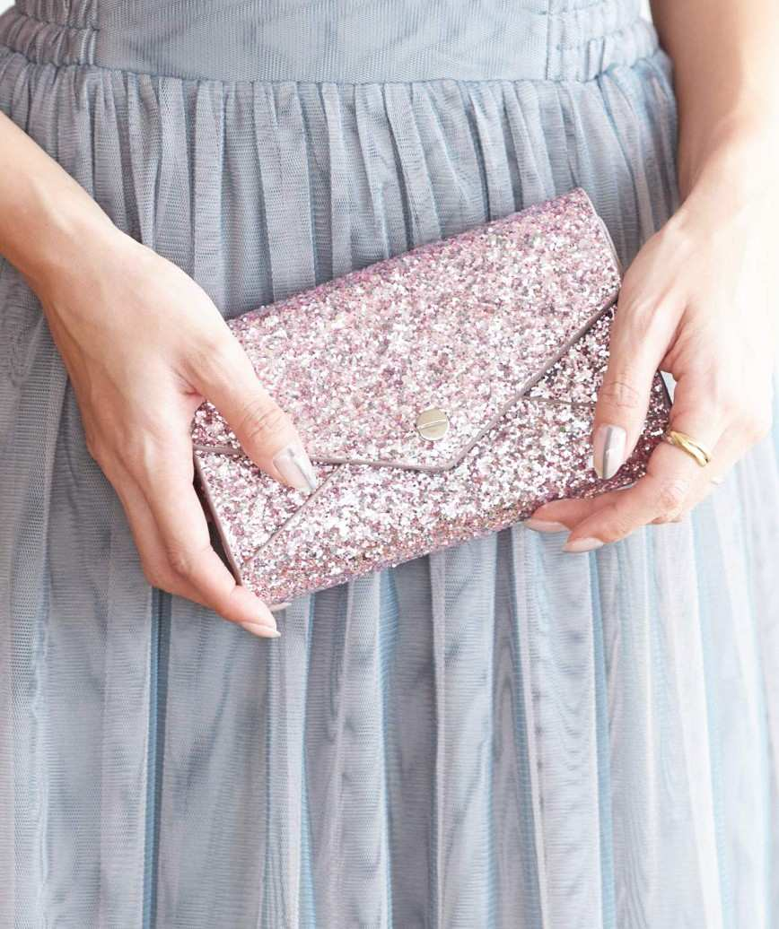Pink mini Lame Clutch bag