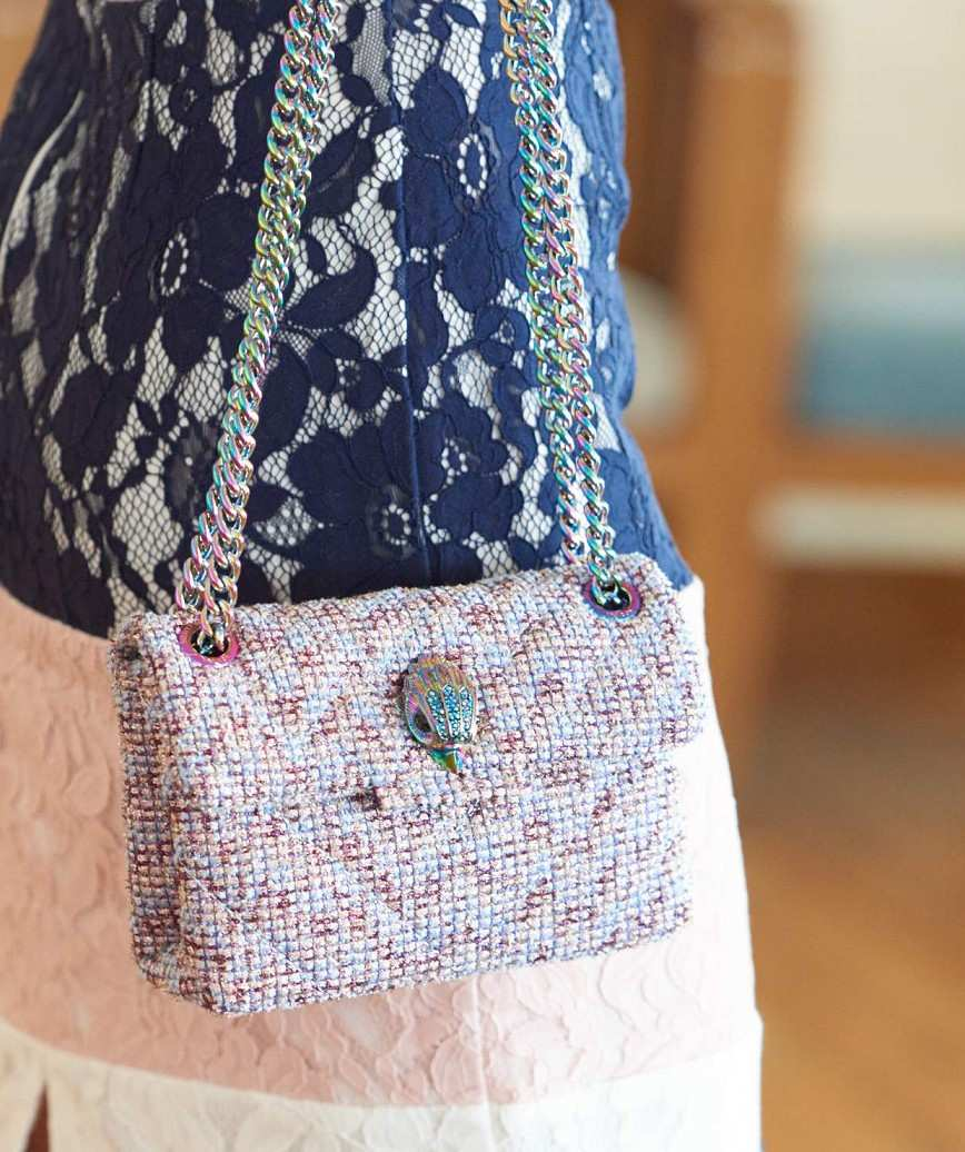 Pink Tweed like Clutch bag
