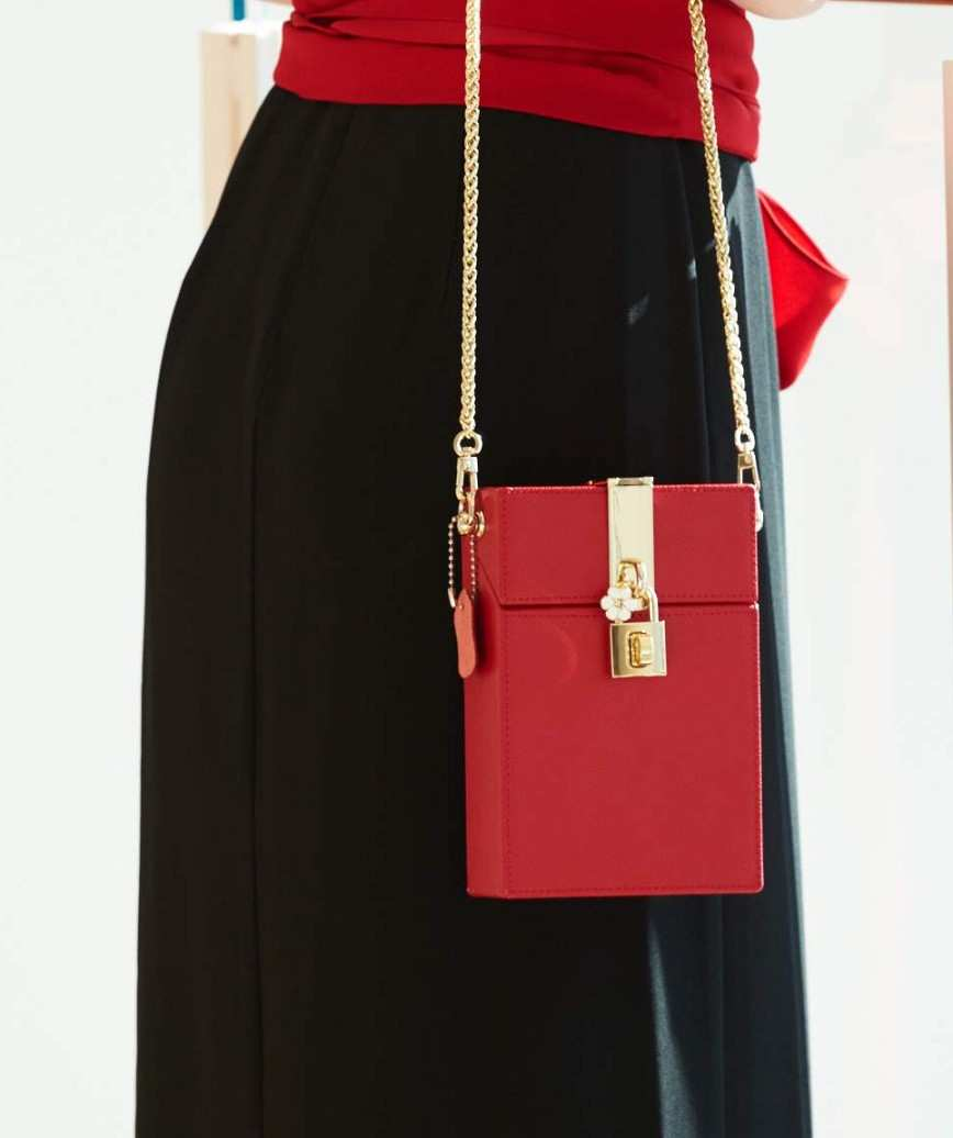 Red Leather Box Clutch bag