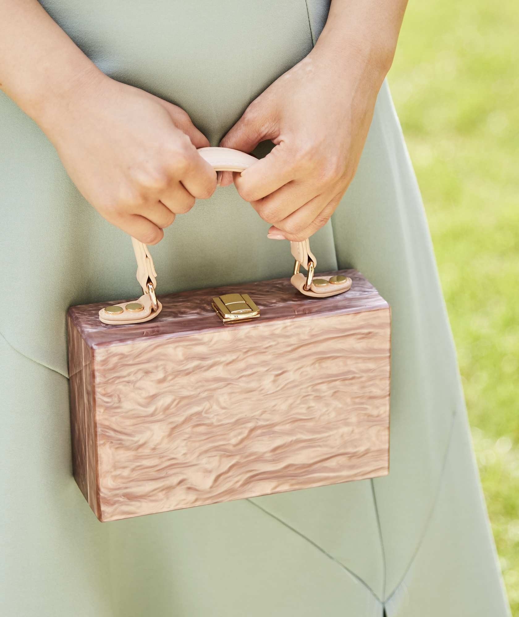Clara Top Handle Box Clutch bag