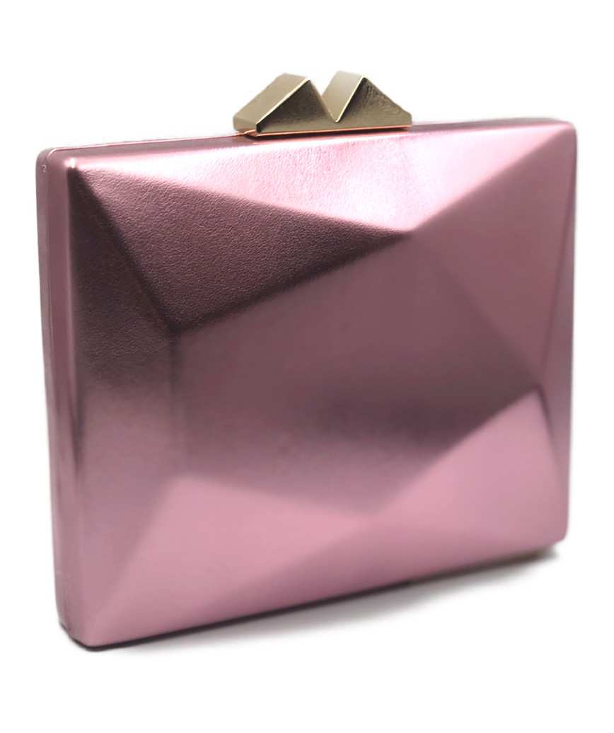 Geometric Faux Leather Clutch bag-Pink