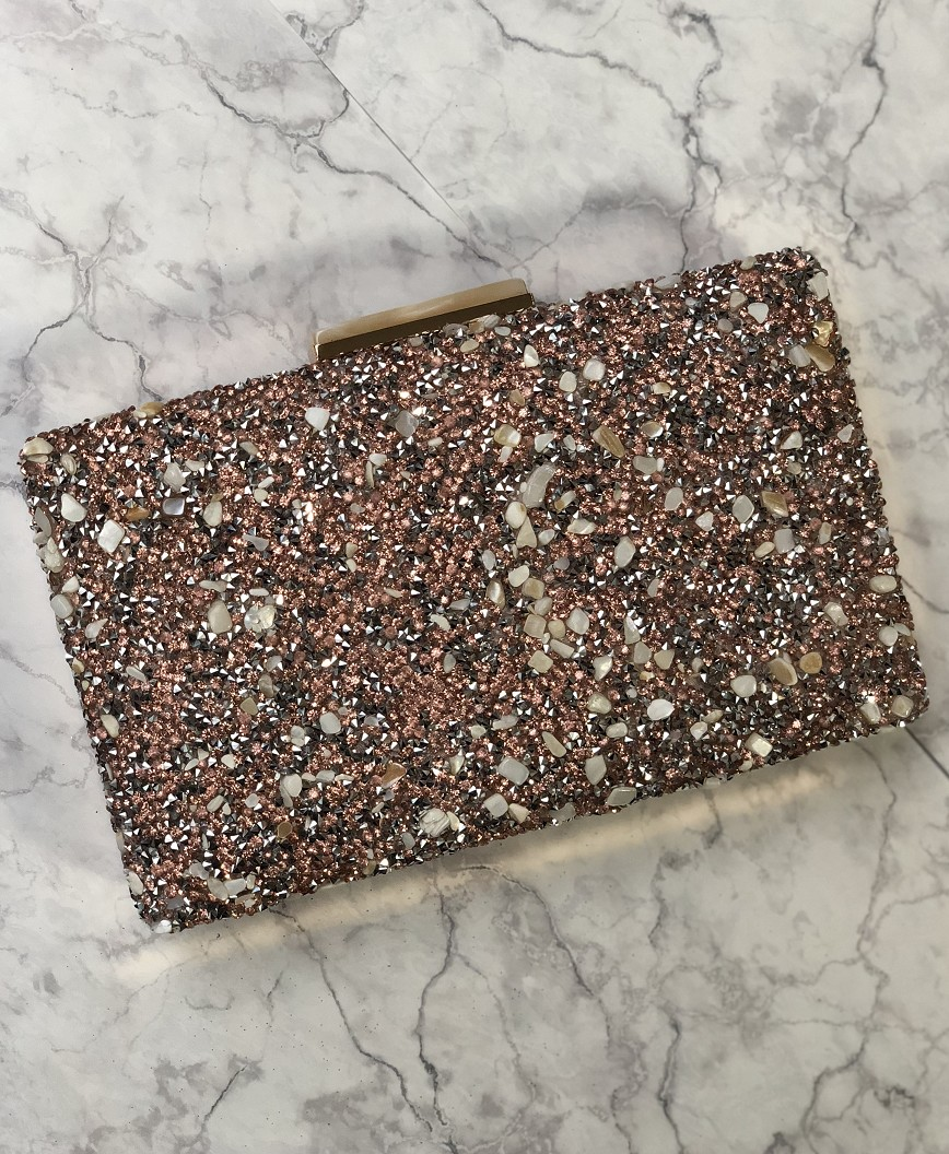 Pink Lame decoration Clutch bag