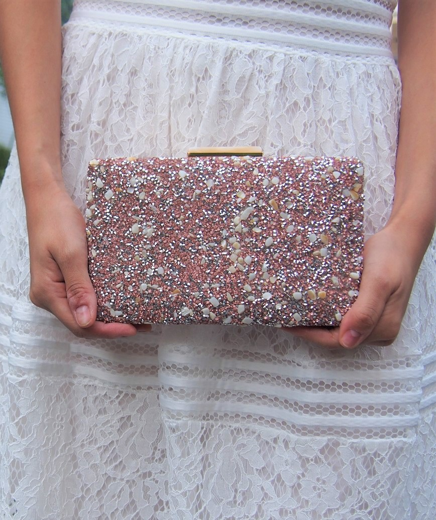 Pink Lame decoration Clutch bag